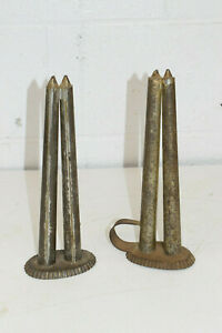 2 X Antique Candlestick Molds Tin Metal Primitive Early Candle Stick Mold 2 2