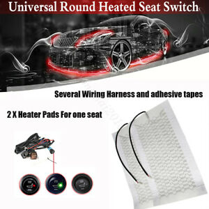 Universal 2xcar Seat Carbon Fiber Heated Seat Heater Pad Round Switch Kit Truck