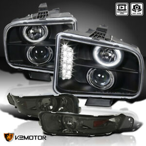 For 2005 2009 Ford Mustang Led Halo Projector Headlights Black Smoke Bumper Lamp
