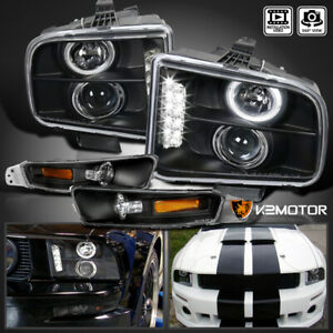 For 2005 2009 Ford Mustang Led Halo Projector Black Headlights bumper Lamps Pair