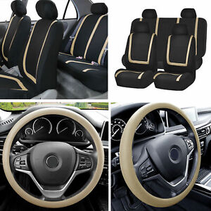 Flat Cloth Car Seat Covers Full Set Beige W silicone Steering Wheel Cover Auto