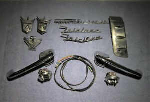 1956 Ford 1 Lot Mixed Bag Of Misc Parts Door Handles Emblems Switches