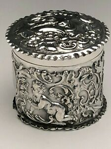 Vintage English Sterling Silver Lidded Box Ornate With Cherubs And Scrolls
