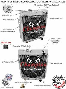 3 Row Rel Champion Radiator W 16 Fan For 1964 1965 1966 Ford Mustang V8 Engine