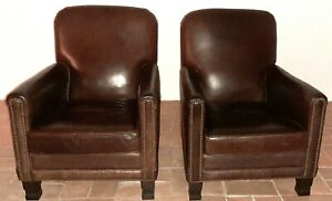 Leather Chairs French Club Humpback Vintage 1940 S A Pair