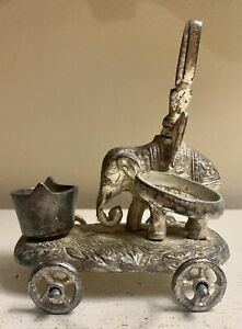 Rare 1860th Victorian Antique Figural Cruet Elephant On Wheels