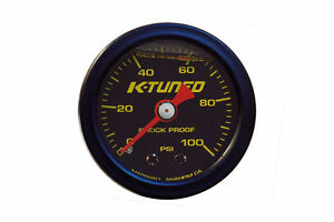 K Tuned Fuel Pressure Gauge Black Marshall 0 100 Psi Universal