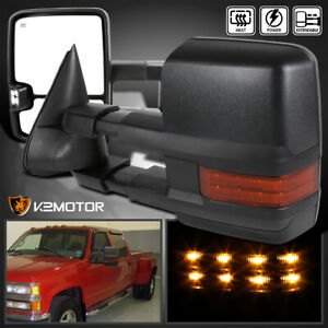 For 88 98 Chevy Gmc C K 1500 2500 3500 Tahoe Led Signal Power Heated Tow Mirrors
