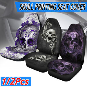 Skull Pattern Universal Car Truck Comfortable Front Seat Cover Protector Cushion