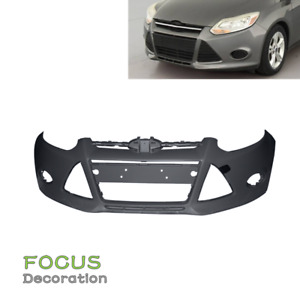 New Primered Front Bumper Cover For 2012 2014 Ford Focus Sedan W Tow Hole
