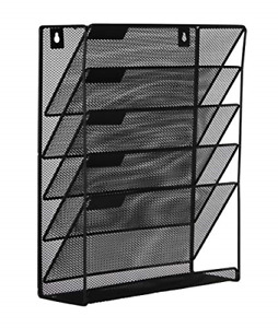 Easypag Mesh Wall File Holder 5 Tier Vertical Mount Hanging Organizer With