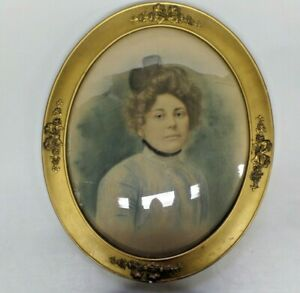 Large Antique Victorian Ornate Oval Wood Frame Convex Bubble Glass Lady Painting