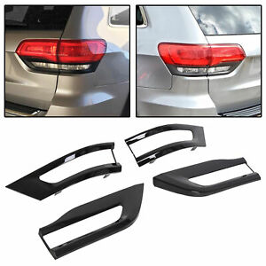 For 14 20 Jeep Grand Cherokee Gloss Black Tail Light Trim Bezel Taillight Cover