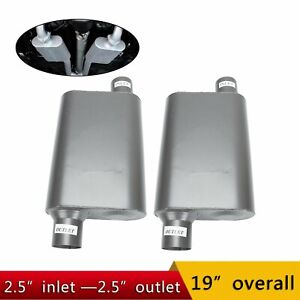 Chambered Performance Race Offset 2 5 Inlet 2 5 Outlet Mufflers Weld On 2pcs