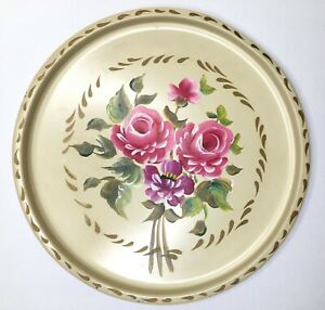 Vintage Nashco Toleware Tray Handpainted Rose Bouquet Shabby Cottage Metal