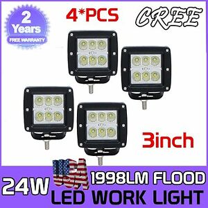 4pcs 24w 3inch Flood Led Cube Pods Work Light Driving Fogs Offroad Truck Square