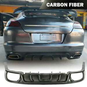 Fits Porsche Panamera 2010 2014 Rear Bumper Diffuser Body Kit Chin Carbon Fiber