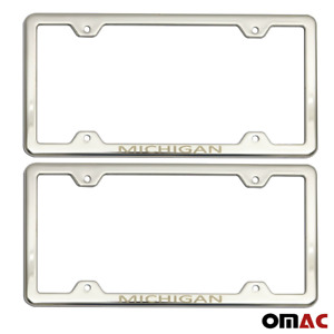 Michigan Print License Plate Frame Chrome S Steel 2 Pcs For Toyota Corolla