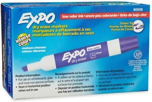 Expo Chisel Dry Erase Markers For Whiteboards 80008 Purple 12 Count