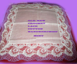 Mint Old New Vintage Handkerchief Cotton Lace And Lilac Crochet No Flaws