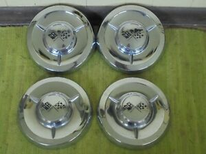 1958 Chevrolet Dog Dish Hub Caps Set Of 4 Chevy 10 1 2 Hubcaps Big Brake 58