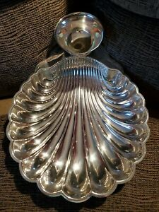 Vintage Silver Plated Shell Serving Shrimp Dish With Dip Bowl Wm Rogers 895 4