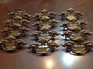 Vintage Brass Colonial Batwing Drawer Furniture Pulls Set Of 12 X 4 1 2 W
