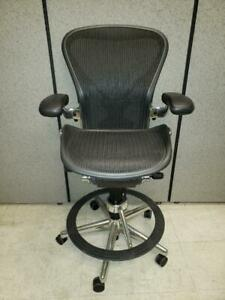 Herman Miller Aeron Drafting Stool With Posture fit And Chrome