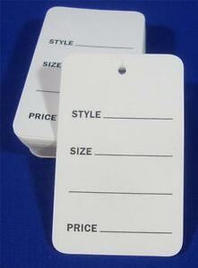 1000 White Unstrung Garment Merchandise Price Tags Large New