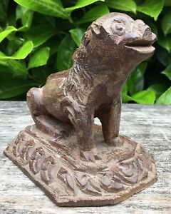 Small Vintage Naive Wooden Carved Southeast Asian Chinese Foo Dog Lion Figure