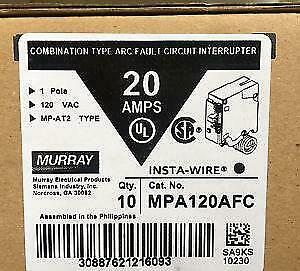 Lot Of 10 Murray Mpa120afc 20a Afci Arc fault Circuit Breaker New In The Box