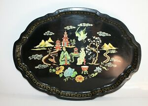 Painted Black Toleware Serving Tray Asian Scene 17 5 X 13