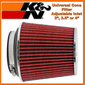 K n 3 To 4 Universal Red Air Intake Cone Filter Truck Suv Car Round Chrome