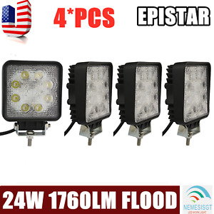 4pcs 4 inch 24w Square Led Flood Work Light Fog Driving Offroad Suv 4wd Trailer