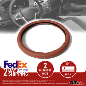 15 Pu Leather Car Steering Wheel Cover Brown For Fiat