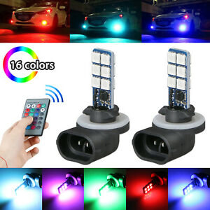 2x 16 Colors 881 5050 Rgb Led 12smd Car Headlight Fog Light Lamp Bulb Remote