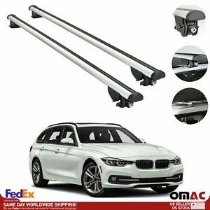 Roof Rack Cross Bar Carrier Rail 2 Pcs Silver For Bmw 3 Series Wagon 2014 2019