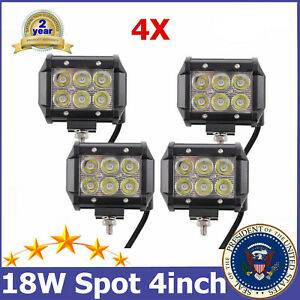 4x 18w Led Work Light Spot 4 Cube Pods Fit Off Road Trailer Toyota 4x4 Truck