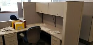 Used Office Cubicles Arranged In 1 Pod Of 4 Great Collaborative Workstations