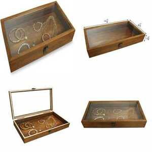 Mooca Wood Glass Top Jewelry Display Case Accessories Storage Wooden Tray For Co