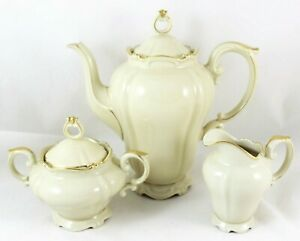 Mint Coffee Tea Service Set Pot Creamer Sugar Heinrich Bavaria China Gold Trim