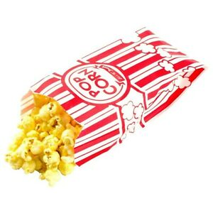 Carnival Style Paper Popcorn Bags 1oz Bags Red White Striped Movie Theat