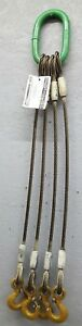 Commercial Group 4 Leg 9 16 Wire Rope Sling 22 000lb 3 8 Long W Crosby Hooks