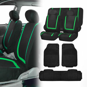 Black Green Seat Covers Set For Car Suv Auto With Black Floor Mats