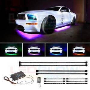 Ledglow 4pc Multi color Led Underbody Neon Accent Glow Kit W 6pc Interior Lights