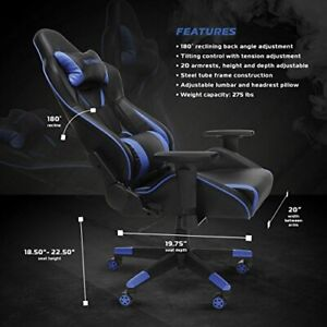 Respawn 400 Big Tall Racing Style Gaming Chair Blue Comfortable Rsp 400 blu