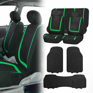 Black Green Seat Covers Set For Car Suv Auto With Black Heavy Duty Floor Mats