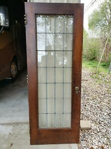 Antique Door With Leaded Glass Architectural Salvage