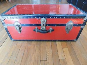 Antique Vintage Metal Steamer Trunk With Tray Red Color