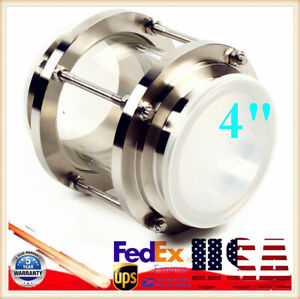 4 In Line Sanitary Flow Sight Glass Tri Clamp Type Stainless Steel 304 120psi